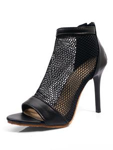 Sandalias de tacón alto Peep Toe negro con cremallera botines de sandalias para mujeres
