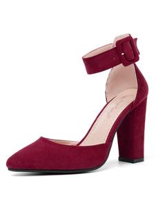 Scarpe con tacco alto da donna 2020 Borgogna Décolleté con cinturino alla caviglia con fibbia a punta