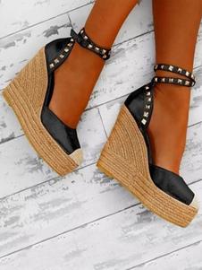 Scarpe con tacco alto da donna 2020 Scarpe con zeppa nere Piattaforma punta tonda Rivetti Espadrillas con cinturino alla caviglia