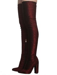 Borgonha Elastic Botas Mulheres Dedo Apontado Coxa Botas Altas De Salto Alto Sobre As Botas Do Joelho