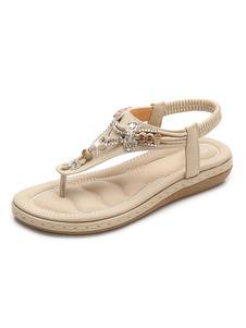 Sandalo piatto da donna 2020 Sandalo con cinturino e strass