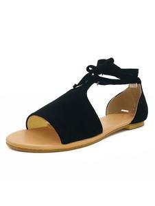 Sandalo piatto da donna grigio 2020 Sandalo Open toe con lacci in nubuck