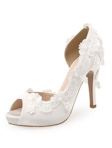 أحذية الزفاف الأبيض الساتان زقزقة اصبع القدم الدانتيل التفاصيل أحذية عالية الكعب الزفاف