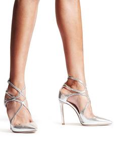 Sapatas De Vestido 2020 De Prata Mulheres Dedo Apontado Cruzado Sapatos De Salto Alto Partido