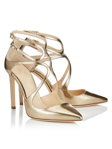 Sapatos De Vestido 2020 Sapatos Das Mulheres De Salto Alto Ouro Dedo Apontado Cruzado