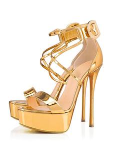 Женские сексуальные босоножки Золотые открытые туфли Criss Cross Лодыжки Сандалии Туфли на высоких каблуках Сандалии