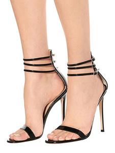 Vestido Preto Sandálias 2020 Sapatos De Festa De Salto Alto Mulheres Aberta Toe Tornozelo Cinta Sandália Sapatos