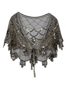 Flapper Girl Cape Retro 1920s fashion Style Great Gatsby Sequin Shawl Halloween