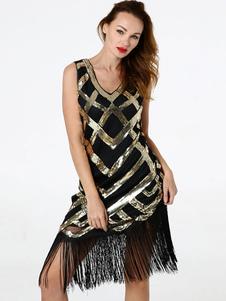 Черные платья-заслонки Блестки бахрома 1920-х годов Великое платье Гэтсби Костюм Хэллоуин