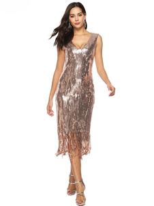 Женские платья-хлопушки Блестки с бахромой V-образным вырезом 1920-х годов Великое платье Гэтсби Хэллоуин