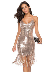 1920s أزياء نمط ملابس الزعنفة فستان غاتسبي العظيم للمرأة هامش V رقبة بريق الشمبانيا مع شرابات فستان حفلة عتيق عشرينيات Halloween