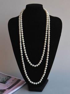قلادة ريترو ذات طبقات من العشرينيات من القرن الماضي أزياء رائعة من Gatsby Flapper Pearl Neklace Halloween
