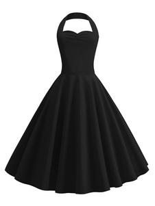 Mulheres Vintage Dress 1950s Pin Up Vestido Halter Backless Swing Dress
