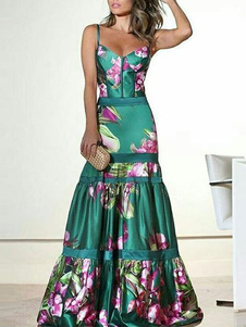 Платье макси партии Женщины Цветочный печати рукавов Труба платье