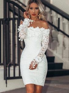 Vestido Branco Bardot 2020 Lace Bainha Mulheres Manga Comprida Sexy Vestido de Bodycon
