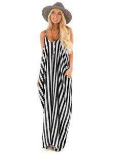 Mulheres Maxi Vestido Sem Mangas Pockets Stripes Oversized Até O Chão Vestido De Verão