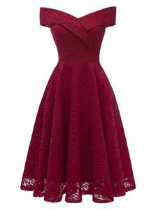 Vestiti Anni 50 donna Abiti Bordeaux abiti anni 50 monocolore Cocktail Abito a pieghe di pizzo maniche corte Abbigliamento  Donna con spalle scoperte