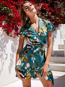 Цветочное чайное платье Женское летнее платье с коротким рукавом и V-образным вырезом