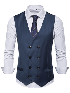 Homens Colete Colete Double Breasted Botão Prom Gilet Clubwear
