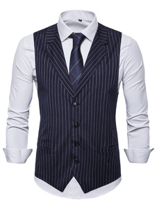 Мужской жилет жилет полосой паз кнопки воротник платье выпускного вечера Gilet Clubwear