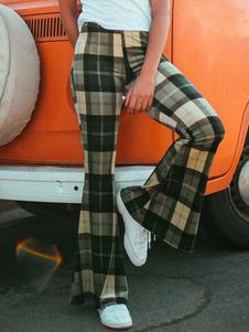 Calças De Perna 2020 Queimado Xadrez Xadrez Cintura Alta Calças De Sino Para As Mulheres