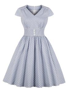 Vestido de verão vintage 1950s azul polka dot v pescoço curto manga mulheres vestido de balanço