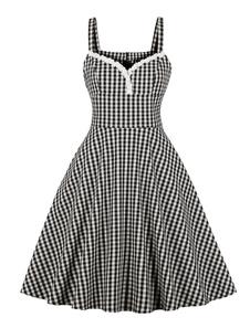 Vestido de Verão Vintage Manta 1950 Lace Applique mangas Swing Vestido Mulheres