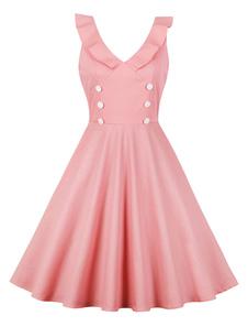 Vestido de Verão Vintage 1950s Botão V Neck Ruffles Mulheres Swing Dress