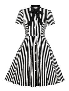 Camisa Vintage Dress 1950s Stripe Bow Tie manga curta Mulheres Botão Up Dress