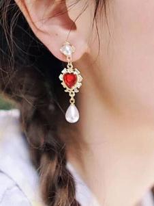 Pendientes de mujer Gotas rojas Diseño de corazón Perlas En capas de metal Cuelgan Pendientes de fiesta colgantes perforados