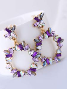 Pendientes de mujer Pendientes de gota perforados de resina redonda púrpura