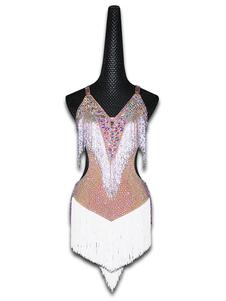 Costume Carnevale Costume da ballo latino Donna bianca vestito con frange e borchie ballerine latine  Costume Carnevale