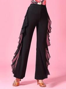 Trajes de dança de salão Mulheres negras Rayon Ruffles Ballroom Dancer Pants Halloween