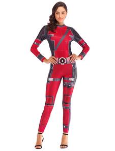 Костюмы супергероев женщин бордовый комбинезон с принтом из полиэстера Хэллоуин