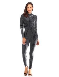 O super-herói das mulheres traja o macacão impresso poliéster da pantera preta Halloween