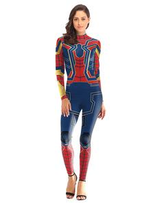Женский костюм супергероя Синий паук с принтом из полиэстера Хэллоуин