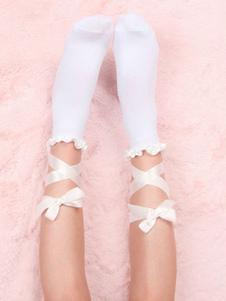 الجوارب لوليتا البيضاء الكشكشة الانحناء Strappy التعادل القطن لوليتا الجوارب
