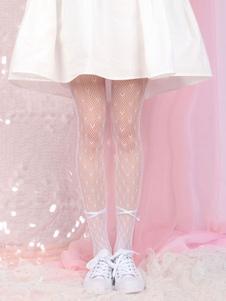 الأبيض لوليتا الجورب sweateat قطع الانحناء جوارب طويلة المخملية اكسسوارات لوليتا