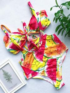 Traje de baño para mujer Traje de baño 2020 con falda impresa Bikini en la playa