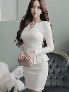 Peplo vestito da lavoro bianco manica lunga ruffles donne vestito aderente