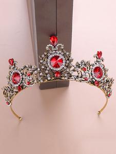 Tiara Crown Wedding Red Royal Barroco Headpieces Rhinestone nupcial accesorios para el cabello