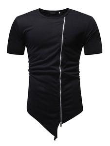 Мужская футболка, повседневная черная хлопковая молния с круглым вырезом и нерегулярной футболкой с короткими рукавами