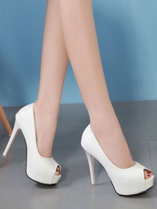 Zapatos de vestir para mujeres 2020 con tacones blancos Peep Toe Slip On Pumps