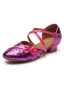 Детская обувь для танцев Блеск Круглый носок Лук Крисс Крест Латинская обувь для танцев Бальные туфли