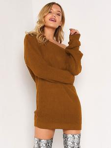 Свободное платье-свитер с длинным рукавом и длинными рукавами