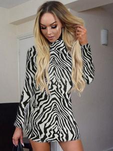 Vestido preto Bodycon Zebra Imprimir manga comprida Sexy Bainha Vestido