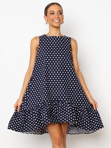 Vestido de verão 2020 Polka Dot Oversized Shift Dress Mulheres Sundress