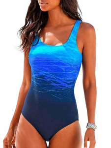 Um pedaço Swimsuit Ombre U Neck Strappy praia Swimwear