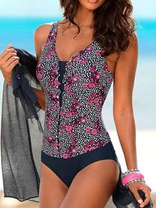 Bañador de una pieza con estampado floral Traje de baño de playa con pliegues