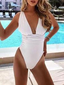 Costumi Interi donna Bianco  da spiaggia monocolore Costumi da Bagno ornato di gale Abbigliamento  Donna scollato sulla schiena con collo arrotondato